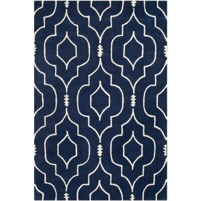 Wilkin Hand-Tufted Wool Dark Blue/Ivory Area Rug Rug Size: Rectangle 4 x 6