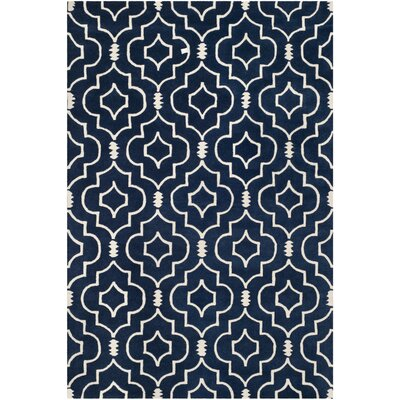 Wilkin Dark Blue & Ivory Area Rug Rug Size: Rectangle 6 x 9