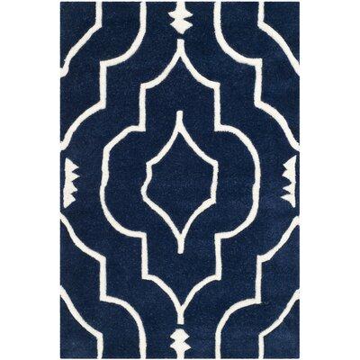Wilkin Dark Blue & Ivory Area Rug Rug Size: 2' x 3'