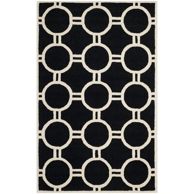 Martins Hand-Tufted Wool Black/Ivory Area Rug Rug Size: Rectangle 4 x 6