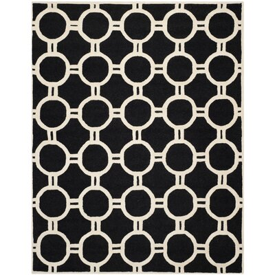 Martins Hand-Tufted Wool Black/Ivory Area Rug Rug Size: Rectangle 8 x 10