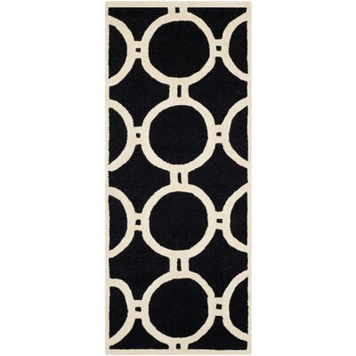 Martins Black/Ivory Area Rug Rug Size: Runner 26 x 6