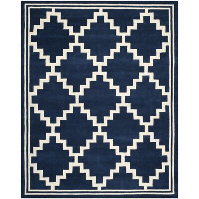 Wilkin Wool Navy/Ivory Area Rug Rug Size: Rectangle 8 x 10