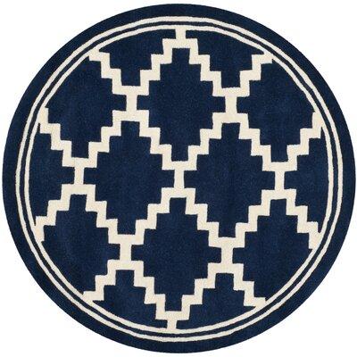 Wilkin Navy / Ivory Rug Rug Size: Round 5