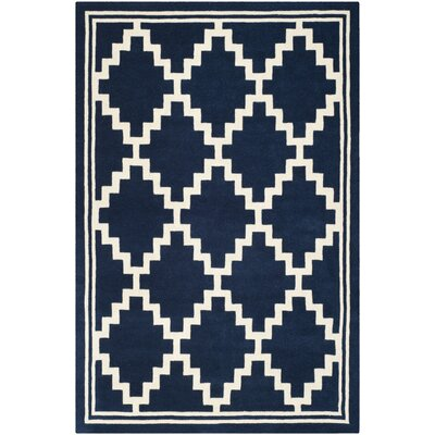 Wilkin Wool Navy/Ivory Area Rug Rug Size: Rectangle 6 x 9