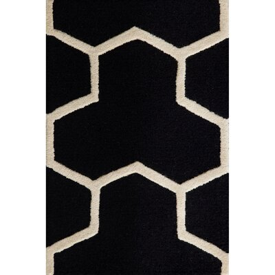 Martins Hand-Tufted Wool Black/Ivory Area Rug Rug Size: Rectangle 2 x 3