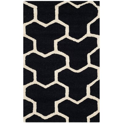 Martins Hand-Tufted Wool Black/Ivory Area Rug Rug Size: Rectangle 26 x 4