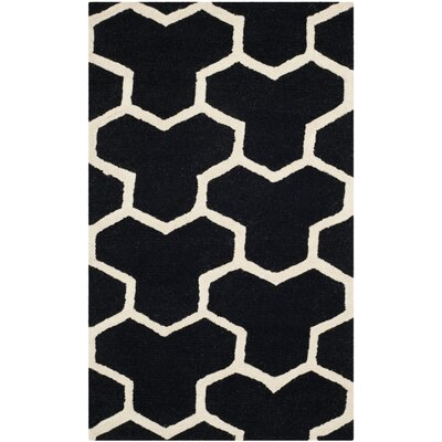 Martins Hand-Tufted Wool Black/Ivory Area Rug Rug Size: Rectangle 6 x 9