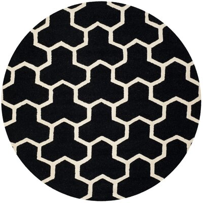 Martins Hand-Tufted Wool Black/Ivory Area Rug Rug Size: Round 6