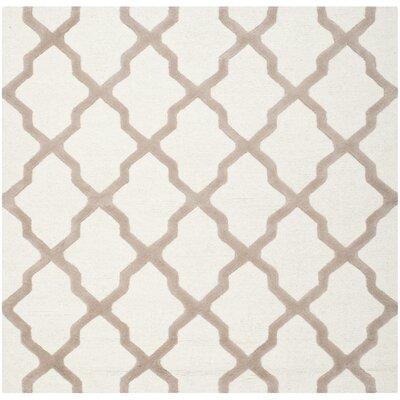 Charlenne Ivory & Beige Area Rug Rug Size: Square 6