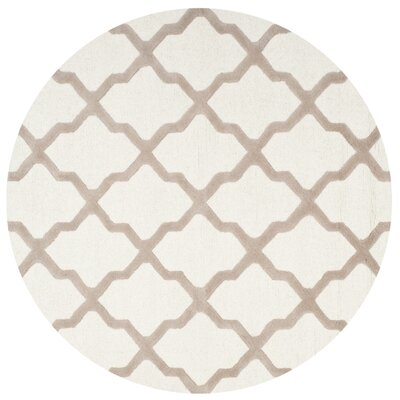 Charlenne Hand-Tufted Wool Ivory/Beige Area Rug Rug Size: Round 6