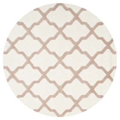 Charlenne Hand-Tufted Wool Ivory/Beige Area Rug Rug Size: Round 4