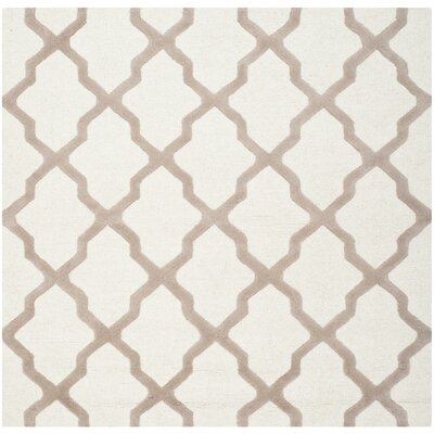 Charlenne Hand-Tufted Wool Ivory/Beige Area Rug Rug Size: Square 4