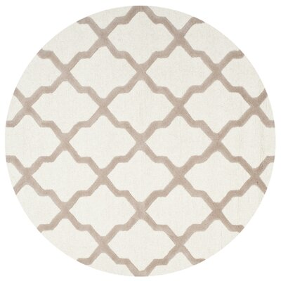 Charlenne Hand-Tufted Wool Ivory/Beige Area Rug Rug Size: Round 10