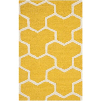 Martins Hand-Tufted Wool Gold/Ivory Area Rug Rug Size: Rectangle 26 x 4