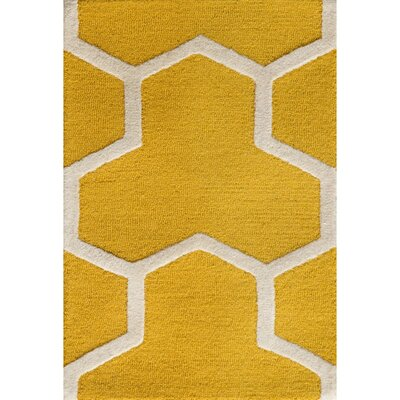 Martins Hand-Tufted Wool Gold/Ivory Area Rug Rug Size: Rectangle 2 x 3