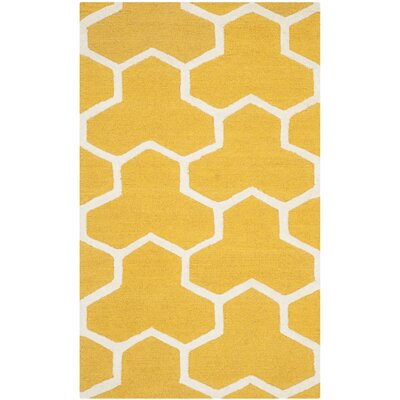 Martins Hand-Tufted Wool Gold/Ivory Area Rug Rug Size: Rectangle 3 x 5