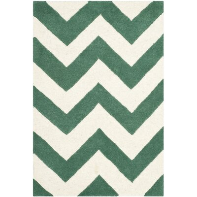 Wilkin Green/White Area Rug Rug Size: 2 x 3