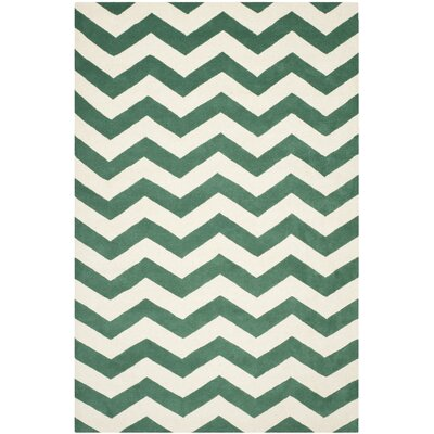 Wilkin Green/White Area Rug Rug Size: 6 x 9