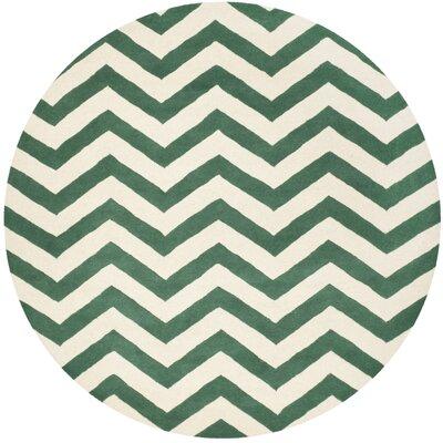 Wilkin Green/White Area Rug Rug Size: Round 7