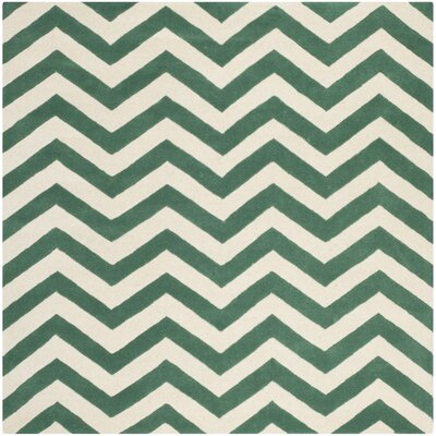 Wilkin Green/White Area Rug Rug Size: Square 7