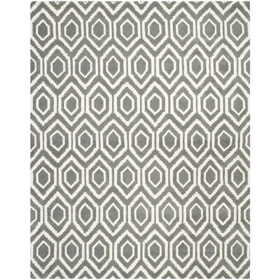Wilkin Hand-Tufted Wool Dark Gray/Ivory Area Rug Rug Size: Rectangle 89 x 12