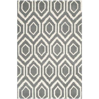 Wilkin Dark Grey / Ivory Rug Rug Size: 4 x 6