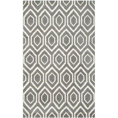 Wilkin Dark Grey / Ivory Rug Rug Size: 5 x 8