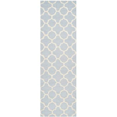 Martins Light Blue / Ivory Area Rug Rug Size: Runner 26 x 6