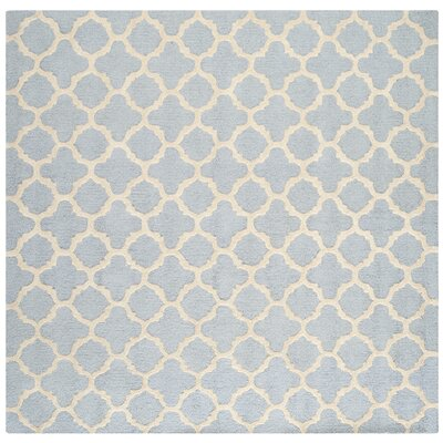 Martins Light Blue / Ivory Area Rug Rug Size: Square 4