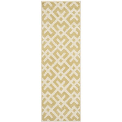 Wilkin Hand-Tufted Wool Light Gold Area Rug Rug Size: Runner 23 x 7
