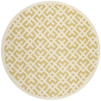 Wilkin Hand-Tufted Wool Light Gold Area Rug Rug Size: Round 7