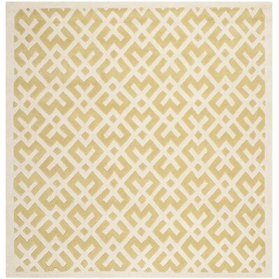 Wilkin Hand-Tufted Wool Light Gold Area Rug Rug Size: Square 7