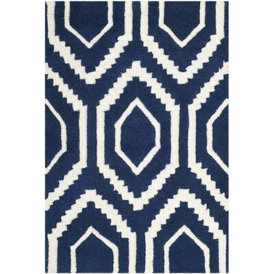 Wilkin Hand-Tufted Wool Dark Blue/Ivory Area Rug Rug Size: Rectangle 10 x 14