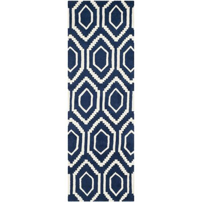 Wilkin Hand-Tufted Wool Dark Blue/Ivory Area Rug Rug Size: Runner 23 x 5