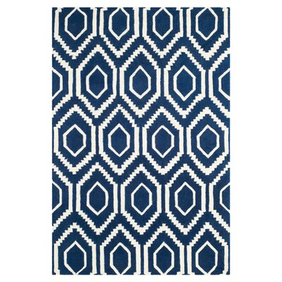 Wilkin Wool Dark Blue/Ivory Area Rug Rug Size: Rectangle 6 x 9