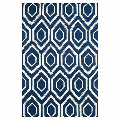 Wilkin Dark Blue / Ivory Rug Rug Size: 6 x 9