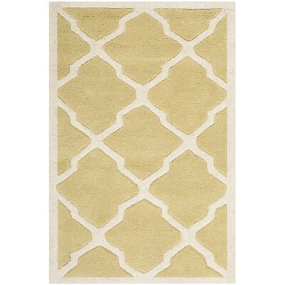 Wilkin Wool Light Gold/Ivory Area Rug Rug Size: Rectangle 2 x 3