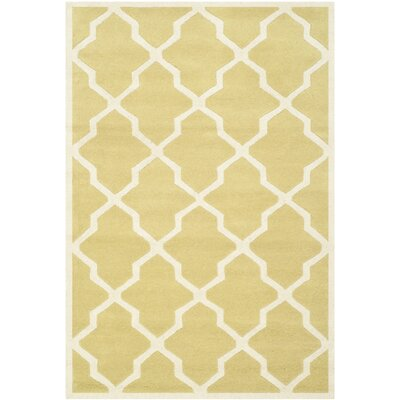 Wilkin Wool Light Gold/Ivory Area Rug Rug Size: Rectangle 4 x 6