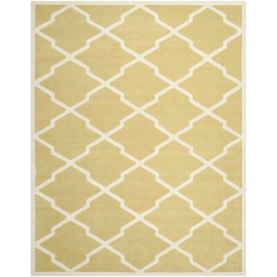 Wilkin Wool Light Gold/Ivory Area Rug Rug Size: Rectangle 8 x 10