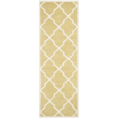 Wilkin Wool Light Gold/Ivory Area Rug Rug Size: Runner 23 x 7