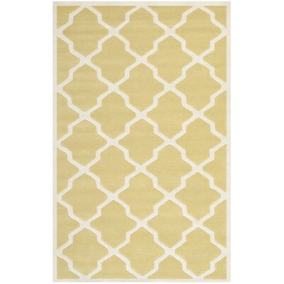 Wilkin Light Gold / Ivory Rug Rug Size: 5 x 8