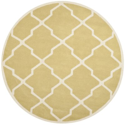 Wilkin Wool Light Gold/Ivory Area Rug Rug Size: Round 7
