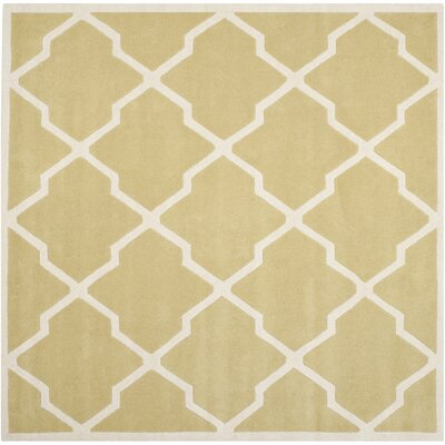 Wilkin Wool Light Gold/Ivory Area Rug Rug Size: Square 7