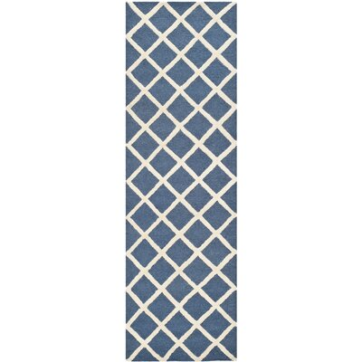 Martins Hand-Tufted Wool Navy Blue/Ivory Area Rug Rug Size: Runner 26 x 10