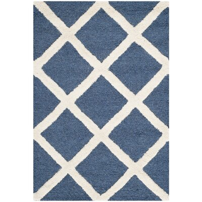 Martins Navy / Ivory Area Rug Rug Size: Rectangle 3 x 5