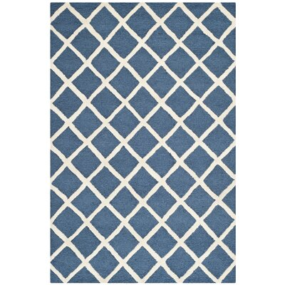 Martins Hand-Tufted Wool Navy Blue/Ivory Area Rug Rug Size: Rectangle 9 x 12
