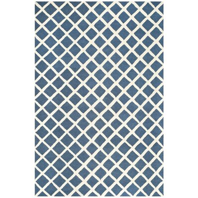 Martins Hand-Tufted Wool Navy Blue/Ivory Area Rug Rug Size: Rectangle 5 x 8