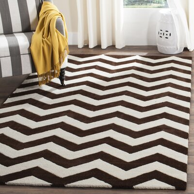 Wilkin Wool Brown/Ivory Area Rug Rug Size: Rectangle 4 x 6