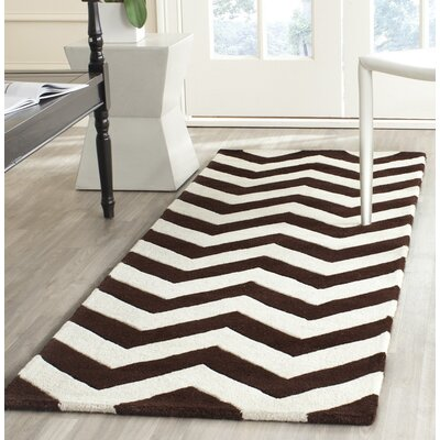 Wilkin Wool Brown/Ivory Area Rug Rug Size: Runner 23 x 7